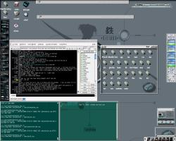 GTK etheme, GKrellM with OSX skin and BlueCyrus skins.. Xmms with phorce skin.. CSCMail, xchat, etc... most importantly EFM !! It rocks :) notice the desktop icons and the dir view ...