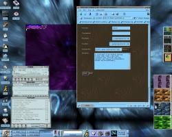 E, BrushedMetal, BlueGTK, XMMS with phorce skin, and Eterm